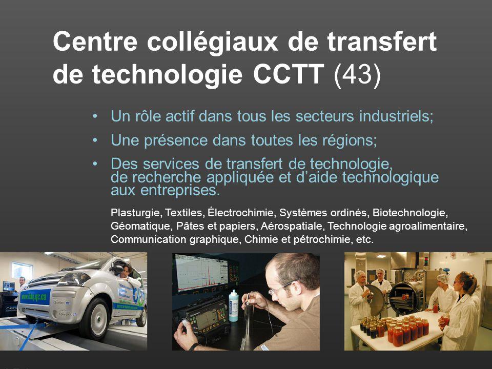 Centre collégiaux de transfert de technologie CCTT (43) Un rôle actif dans tous les secteurs industriels; Une présence dans toutes les régions; Des services de transfert de technologie, de recherche appliquée et daide technologique aux entreprises.