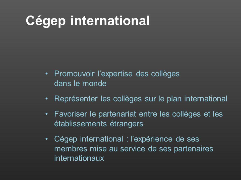Cégep international Promouvoir lexpertise des collèges dans le monde Représenter les collèges sur le plan international Favoriser le partenariat entre les collèges et les établissements étrangers Cégep international : lexpérience de ses membres mise au service de ses partenaires internationaux