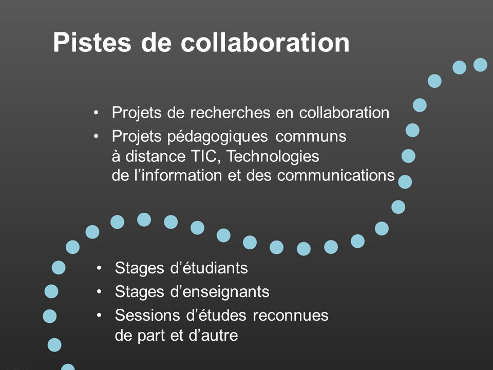 Pistes de collaboration Stages détudiants Stages denseignants Sessions détudes reconnues de part et dautre Projets de recherches en collaboration Proj