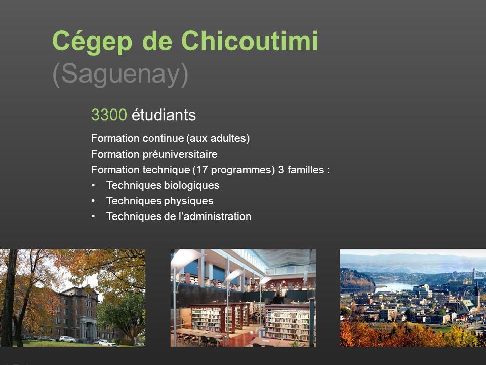 Cégep de Chicoutimi (Saguenay) 3300 étudiants Formation continue (aux adultes) Formation préuniversitaire Formation technique (17 programmes) 3 familles : Techniques biologiques Techniques physiques Techniques de ladministration