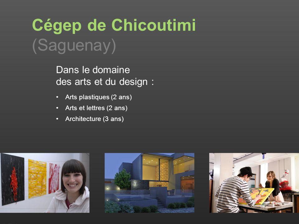 Dans le domaine des arts et du design : Arts plastiques (2 ans) Arts et lettres (2 ans) Architecture (3 ans) Cégep de Chicoutimi (Saguenay)