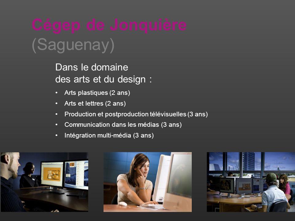Dans le domaine des arts et du design : Arts plastiques (2 ans) Arts et lettres (2 ans) Production et postproduction télévisuelles (3 ans) Communication dans les médias (3 ans) Intégration multi-média (3 ans) Cégep de Jonquière (Saguenay)