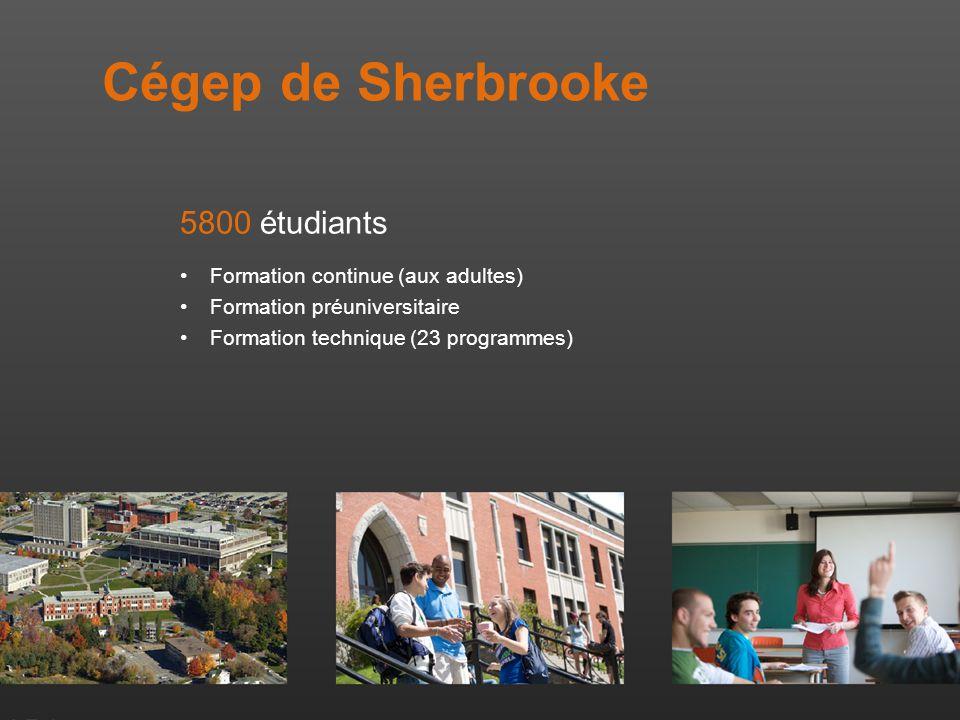 Cégep de Sherbrooke 5800 étudiants Formation continue (aux adultes) Formation préuniversitaire Formation technique (23 programmes)