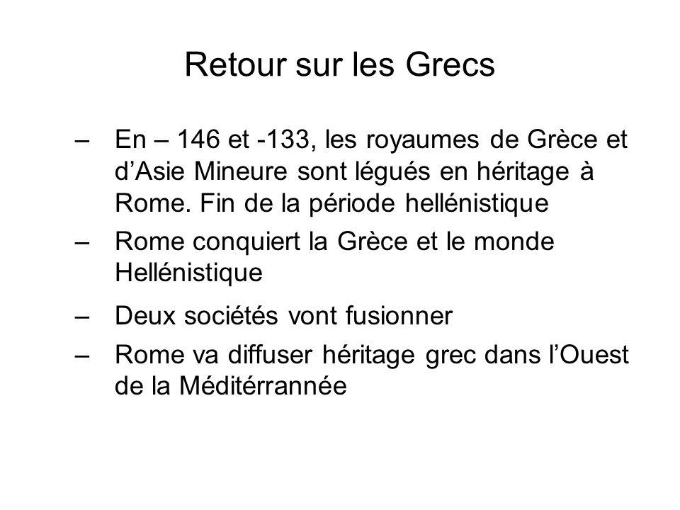 Retour sur les Grecs –En – 146 et -133, les royaumes de Grèce et dAsie Mineure sont légués en héritage à Rome. Fin de la période hellénistique –Rome c
