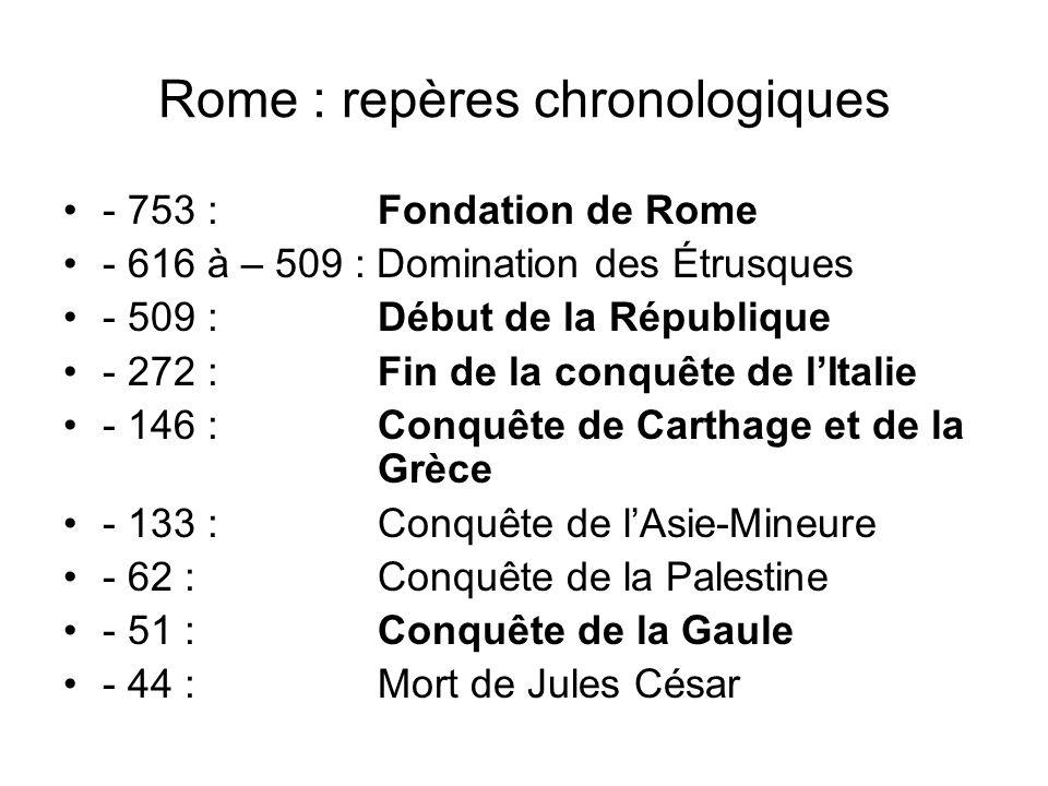 Rome : repères chronologiques - 753 : Fondation de Rome - 616 à – 509 : Domination des Étrusques - 509 : Début de la République - 272 : Fin de la conq