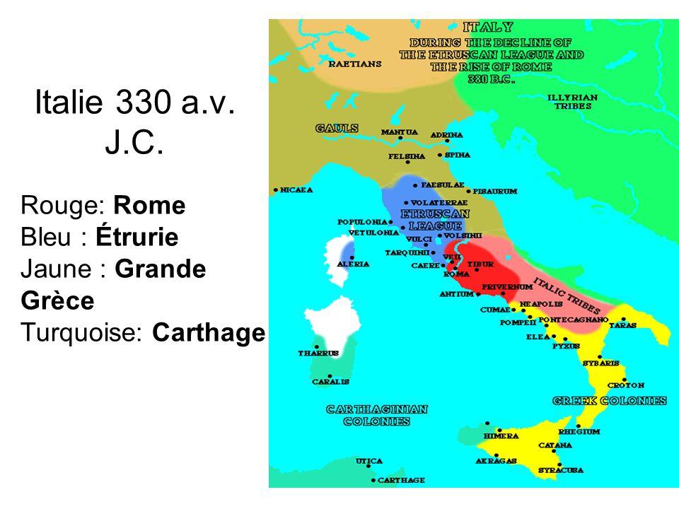 Italie 330 a.v. J.C. Rouge: Rome Bleu : Étrurie Jaune : Grande Grèce Turquoise: Carthage