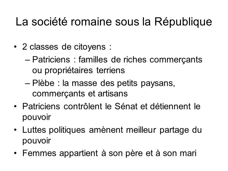 La société romaine sous la République 2 classes de citoyens : –Patriciens : familles de riches commerçants ou propriétaires terriens –Plèbe : la masse