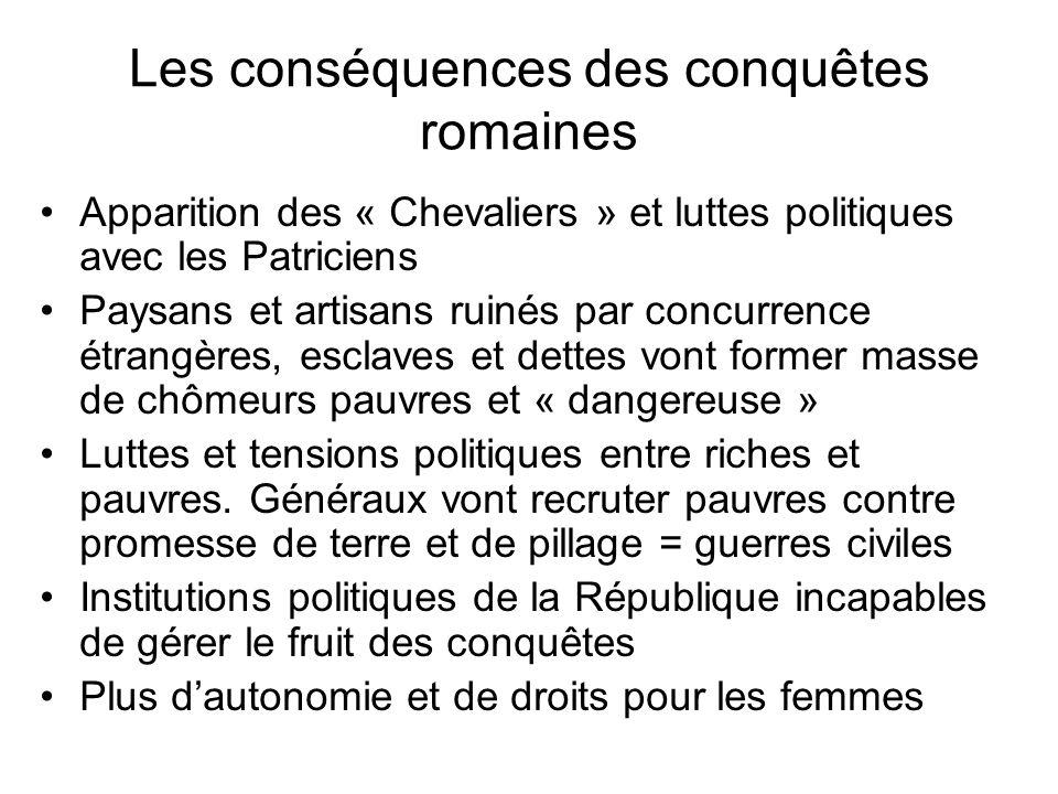 Les conséquences des conquêtes romaines Apparition des « Chevaliers » et luttes politiques avec les Patriciens Paysans et artisans ruinés par concurre