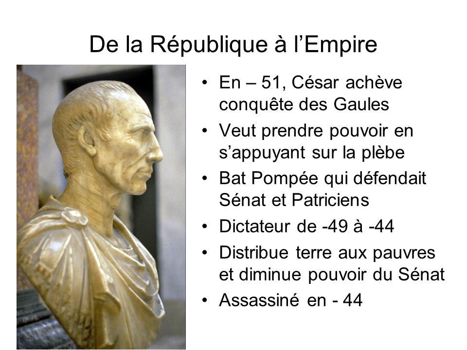 De la République à lEmpire En – 51, César achève conquête des Gaules Veut prendre pouvoir en sappuyant sur la plèbe Bat Pompée qui défendait Sénat et