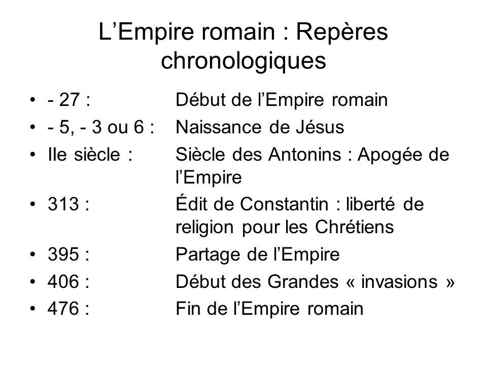 LEmpire romain : Repères chronologiques - 27 :Début de lEmpire romain - 5, - 3 ou 6 : Naissance de Jésus IIe siècle :Siècle des Antonins : Apogée de l