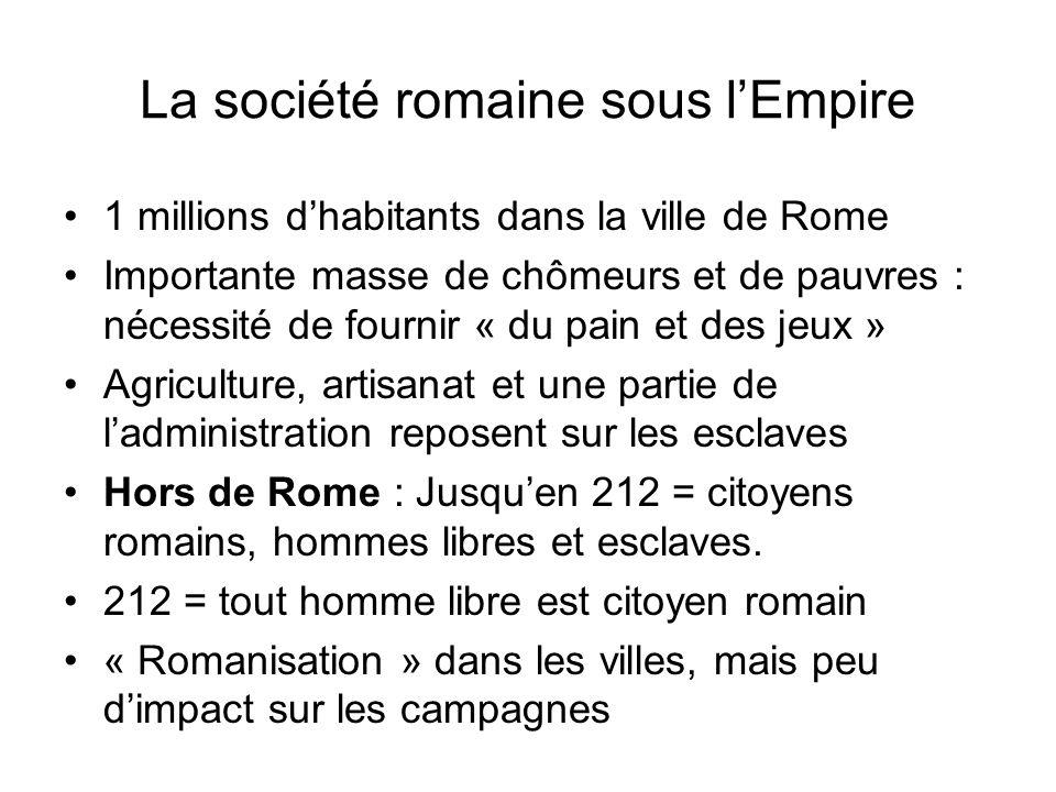 La société romaine sous lEmpire 1 millions dhabitants dans la ville de Rome Importante masse de chômeurs et de pauvres : nécessité de fournir « du pai