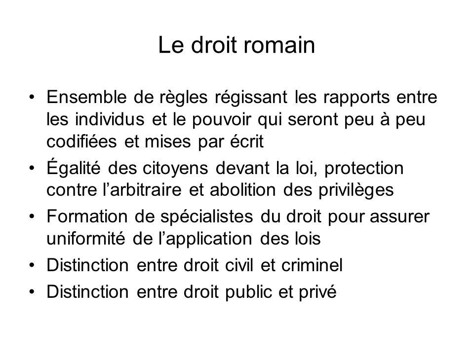 Le droit romain Ensemble de règles régissant les rapports entre les individus et le pouvoir qui seront peu à peu codifiées et mises par écrit Égalité