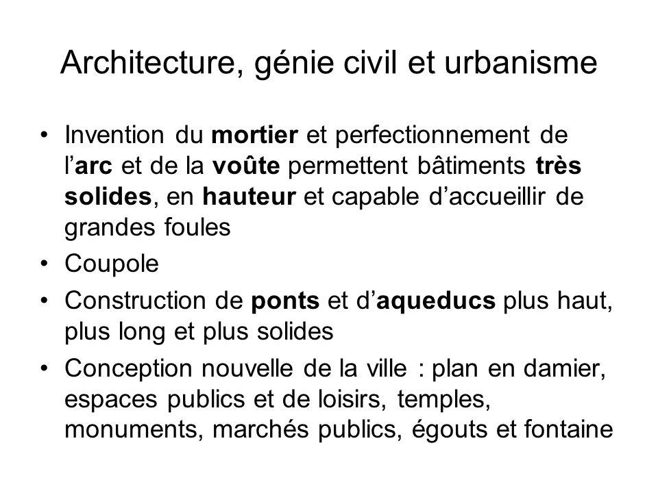 Architecture, génie civil et urbanisme Invention du mortier et perfectionnement de larc et de la voûte permettent bâtiments très solides, en hauteur e