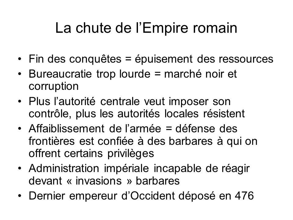 La chute de lEmpire romain Fin des conquêtes = épuisement des ressources Bureaucratie trop lourde = marché noir et corruption Plus lautorité centrale