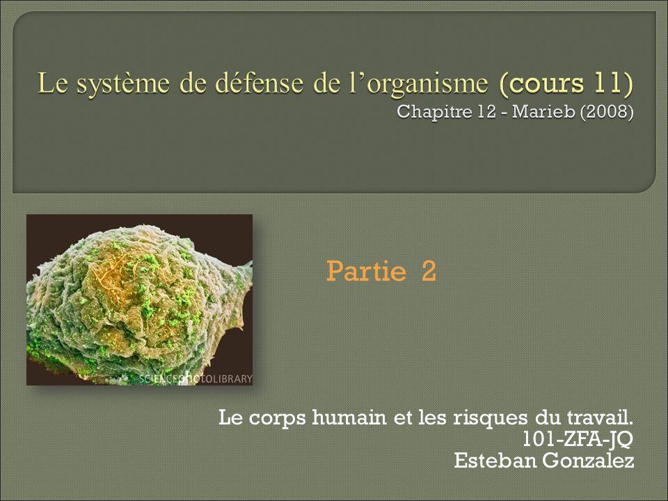Le système de défense de lorganisme (cours 11) Chapitre 12 - Marieb (2008) Le corps humain et les risques du travail. 101-ZFA-JQ Esteban Gonzalez Part
