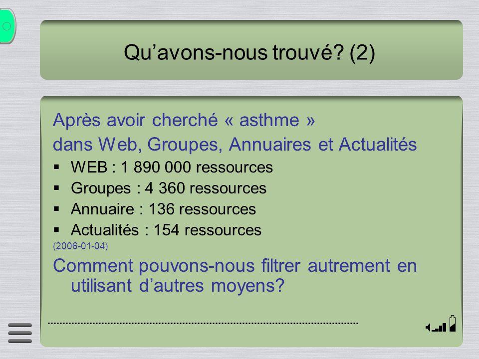 Quavons-nous trouvé? (2) Après avoir cherché « asthme » dans Web, Groupes, Annuaires et Actualités WEB : 1 890 000 ressources Groupes : 4 360 ressourc