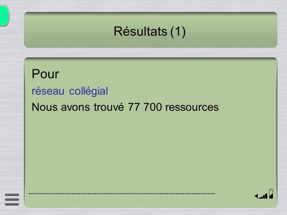 Résultats (1) Pour réseau collégial Nous avons trouvé 77 700 ressources