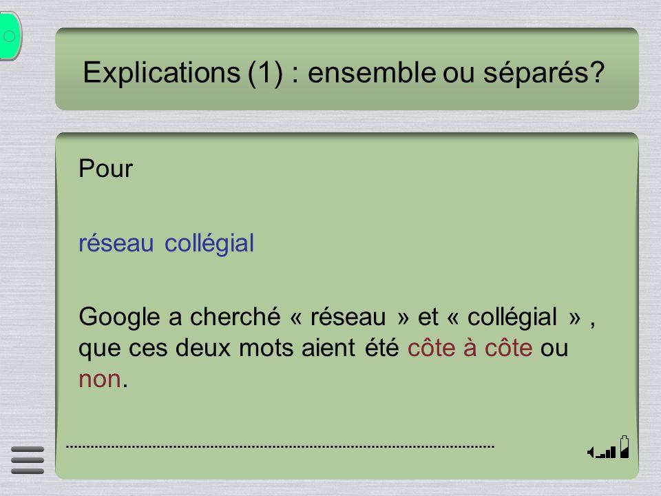 Explications (1) : ensemble ou séparés? Pour réseau collégial Google a cherché « réseau » et « collégial », que ces deux mots aient été côte à côte ou
