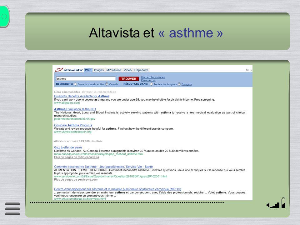 Altavista et « asthme »