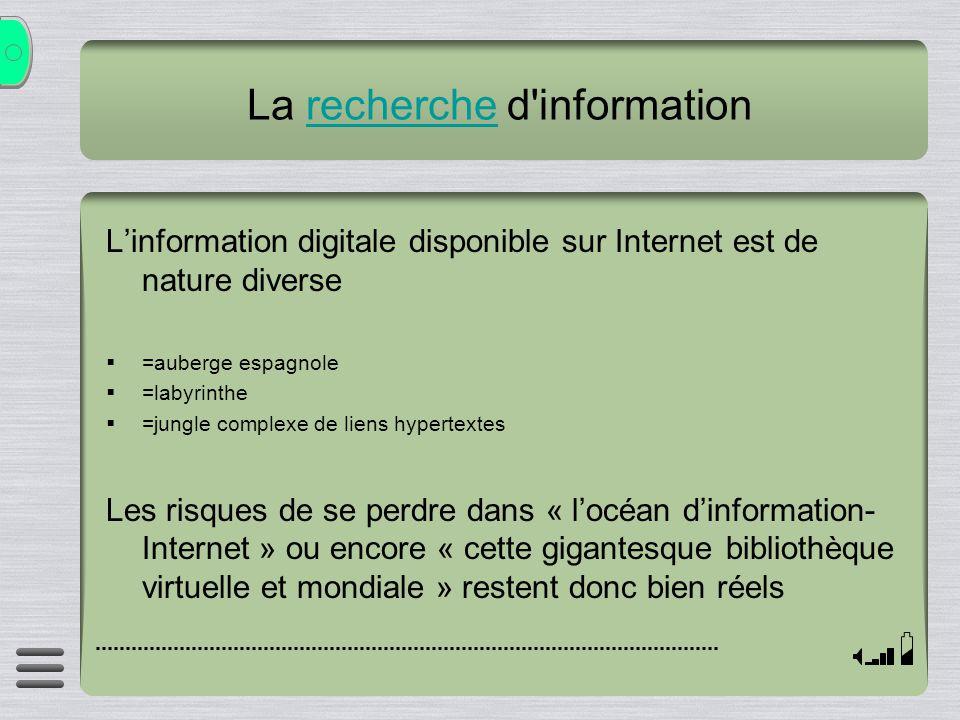La recherche d'informationrecherche Linformation digitale disponible sur Internet est de nature diverse =auberge espagnole =labyrinthe =jungle complex
