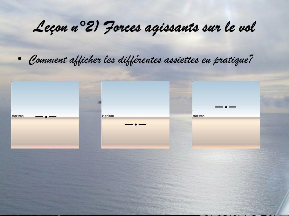 Leçon n°2) Forces agissants sur le vol Comment afficher les différentes assiettes en pratique?