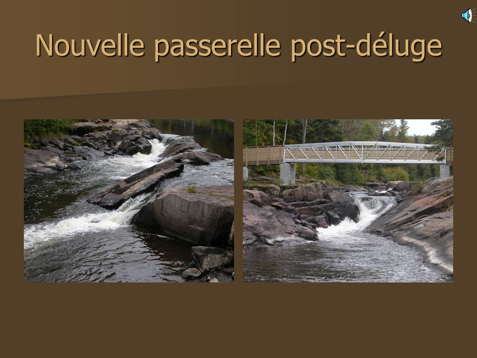 Déluge de 1996 Des pluies diluviennes sabattent sur le Saguenay en juillet 1996. Plus de 350 mm de pluie en quelques heures. Cest la désolation. Seule
