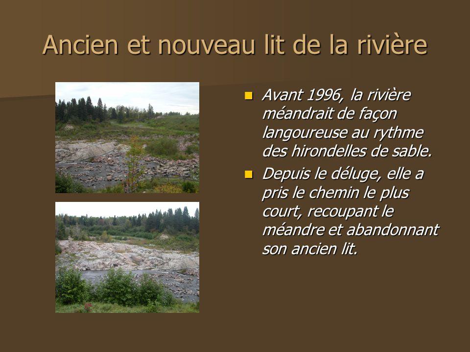 Ancien et nouveau lit de la rivière Avant 1996, la rivière méandrait de façon langoureuse au rythme des hirondelles de sable.