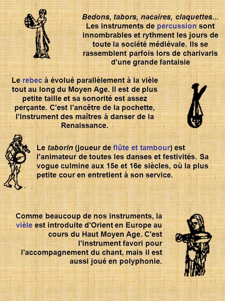 Bedons, tabors, nacaires, claquettes... Les instruments de percussion sont innombrables et rythment les jours de toute la société médiévale. Ils se ra