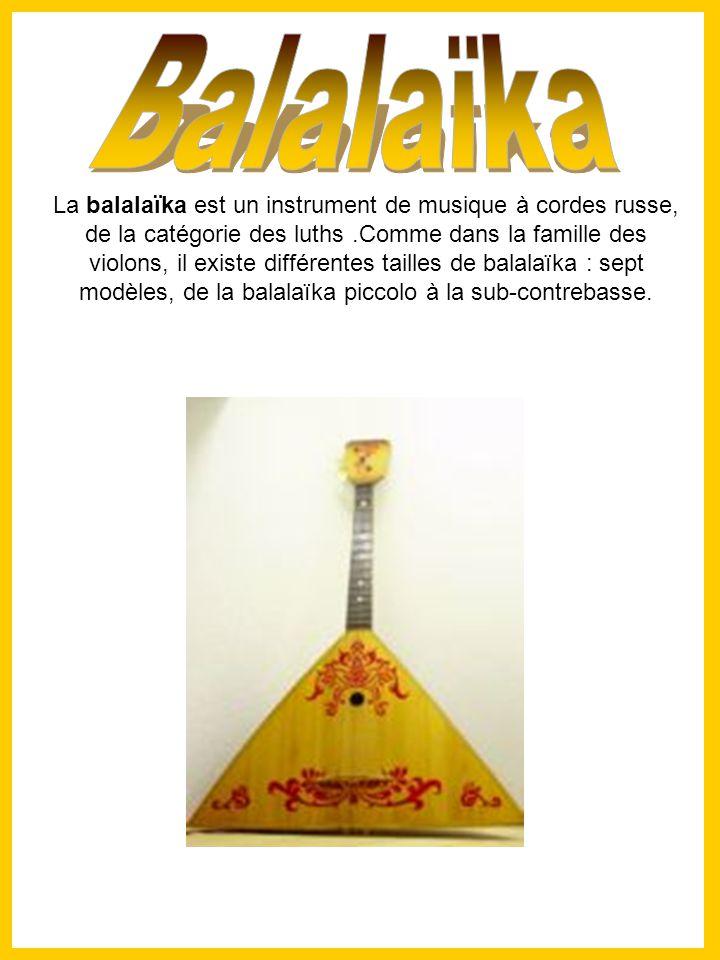La balalaïka est un instrument de musique à cordes russe, de la catégorie des luths.Comme dans la famille des violons, il existe différentes tailles de balalaïka : sept modèles, de la balalaïka piccolo à la sub-contrebasse.