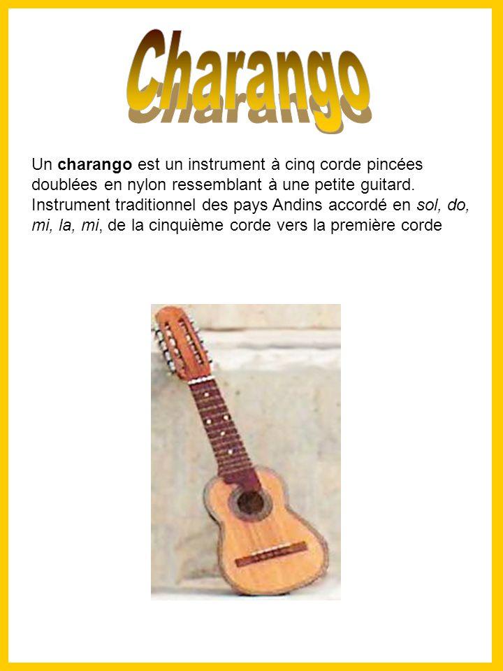 Un charango est un instrument à cinq corde pincées doublées en nylon ressemblant à une petite guitard.