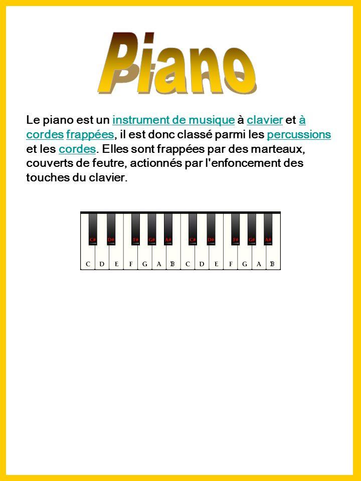 Le piano est un instrument de musique à clavier et à cordes frappées, il est donc classé parmi les percussions et les cordes.