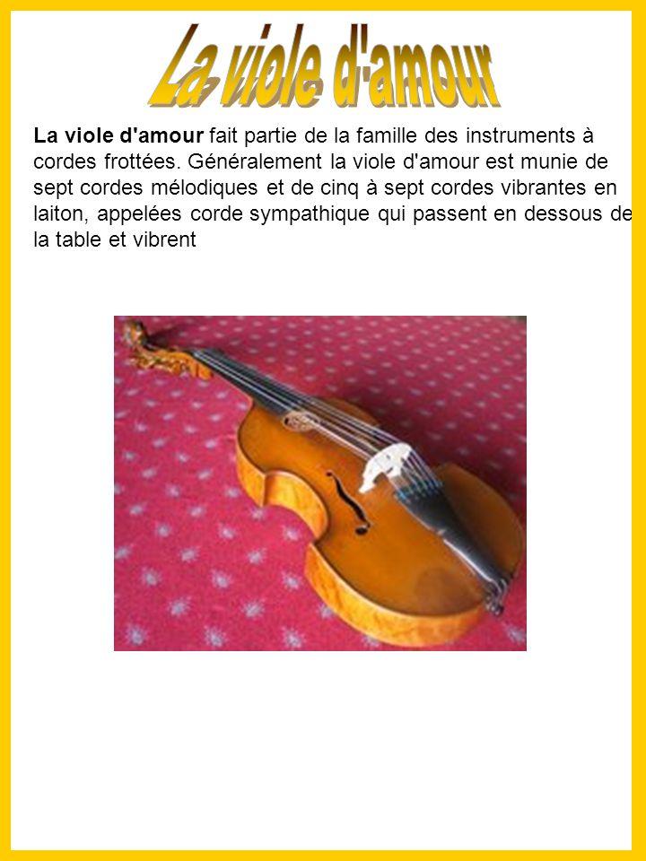 La viole d amour fait partie de la famille des instruments à cordes frottées.