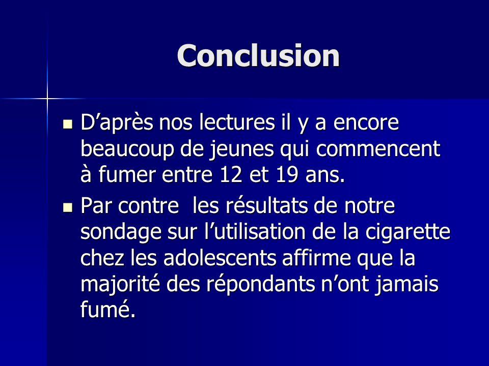 Conclusion Daprès nos lectures il y a encore beaucoup de jeunes qui commencent à fumer entre 12 et 19 ans. Daprès nos lectures il y a encore beaucoup