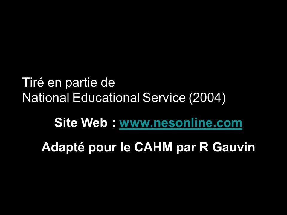 Tiré en partie de National Educational Service (2004) Site Web : www.nesonline.comwww.nesonline.com Adapté pour le CAHM par R Gauvin