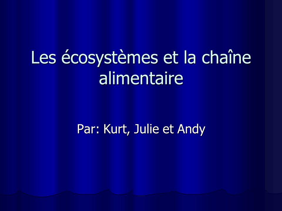 Les écosystèmes et la chaîne alimentaire Par: Kurt, Julie et Andy