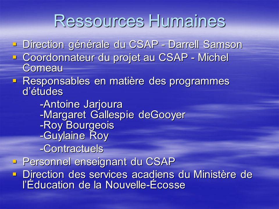 Ressources Humaines Direction générale du CSAP - Darrell Samson Direction générale du CSAP - Darrell Samson Coordonnateur du projet au CSAP - Michel C