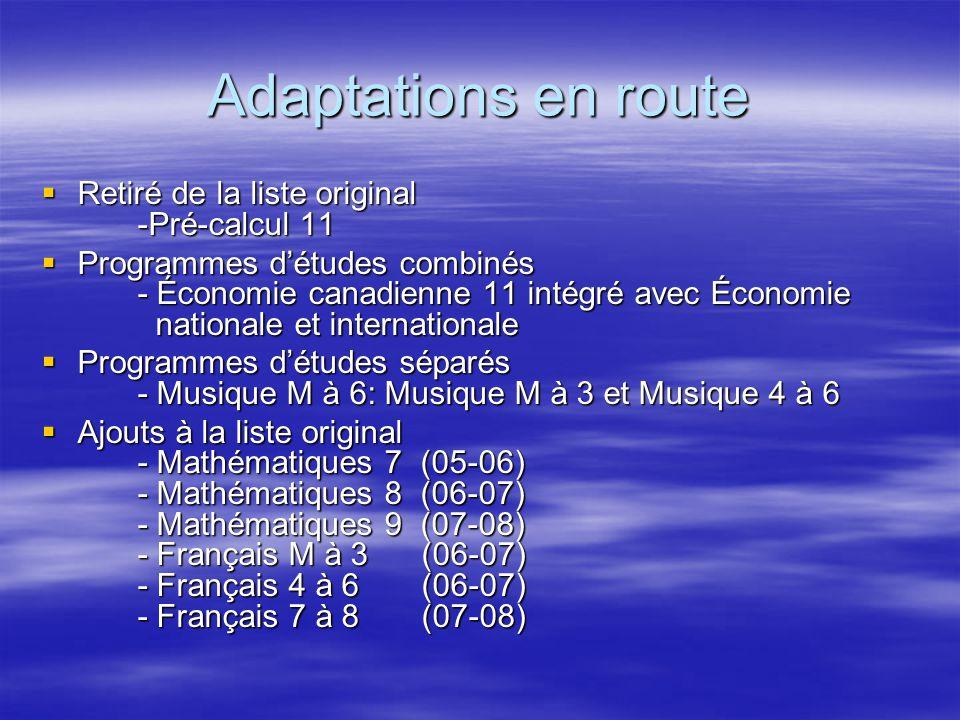 Adaptations en route Retiré de la liste original -Pré-calcul 11 Retiré de la liste original -Pré-calcul 11 Programmes détudes combinés - Économie cana