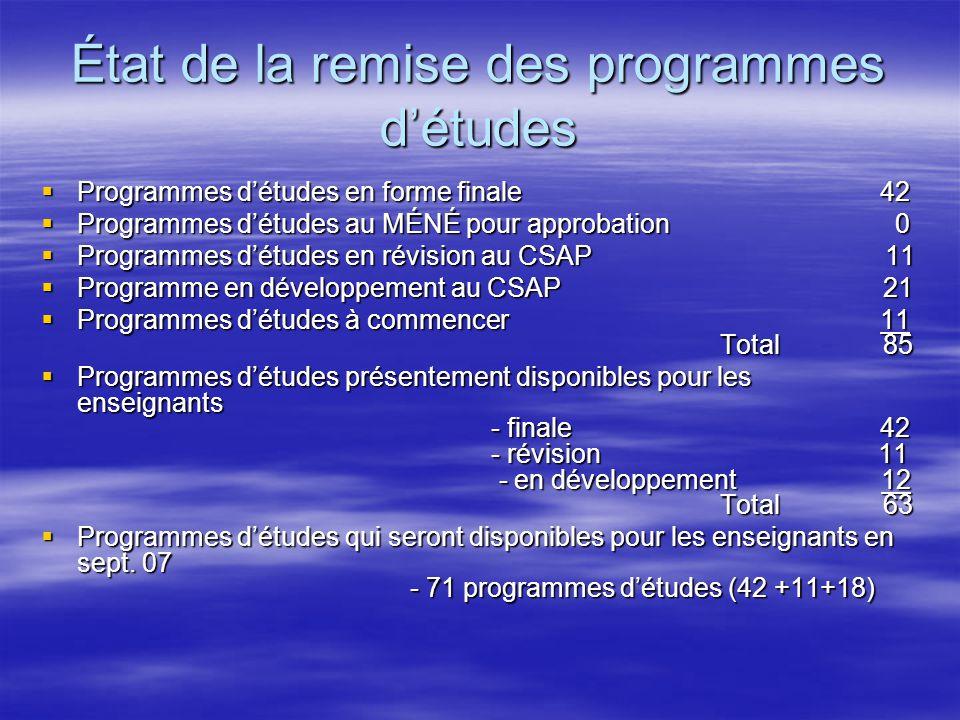 État de la remise des programmes détudes Programmes détudes en forme finale 42 Programmes détudes en forme finale 42 Programmes détudes au MÉNÉ pour a