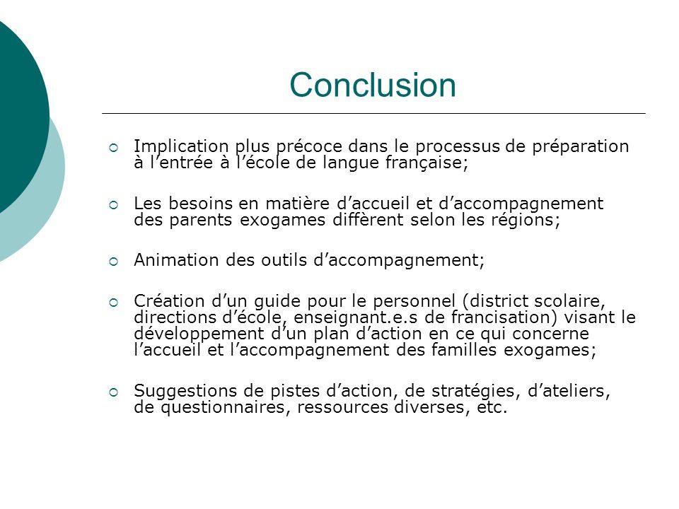 Conclusion Implication plus précoce dans le processus de préparation à lentrée à lécole de langue française; Les besoins en matière daccueil et daccom