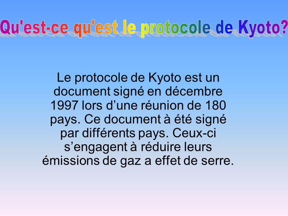 Le protocole de Kyoto est un document signé en décembre 1997 lors dune réunion de 180 pays. Ce document à été signé par différents pays. Ceux-ci senga