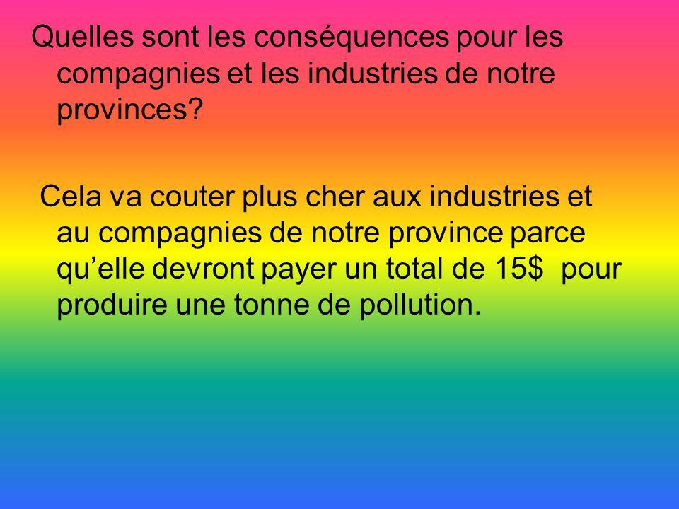 Quelles sont les conséquences pour les compagnies et les industries de notre provinces? Cela va couter plus cher aux industries et au compagnies de no
