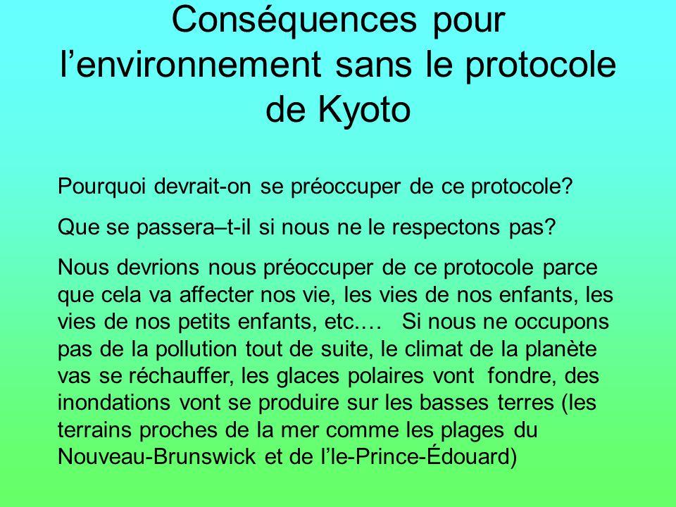Conséquences pour lenvironnement sans le protocole de Kyoto Pourquoi devrait-on se préoccuper de ce protocole? Que se passera–t-il si nous ne le respe