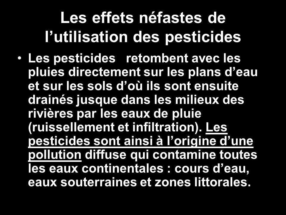 Les effets néfastes de lutilisation des pesticides Les pesticides retombent avec les pluies directement sur les plans deau et sur les sols doù ils sont ensuite drainés jusque dans les milieux des rivières par les eaux de pluie (ruissellement et infiltration).