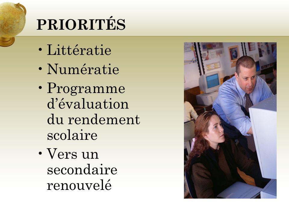 Priorités (suite) Lintégration de la composante culturelle dans les programmes détudes Vers un secondaire renouvelé Mentorat