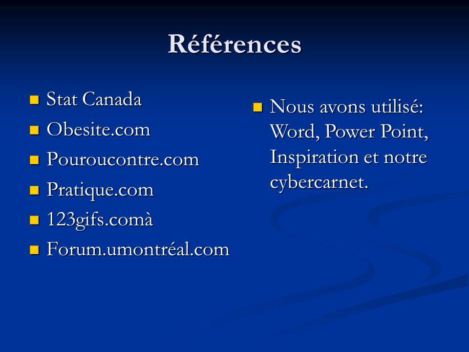 Références Stat Canada Stat Canada Obesite.com Obesite.com Pouroucontre.com Pouroucontre.com Pratique.com Pratique.com 123gifs.comà 123gifs.comà Forum