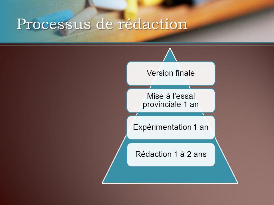 Version finale Mise à lessai provinciale 1 an Expérimentation 1 anRédaction 1 à 2 ans Processus de rédaction