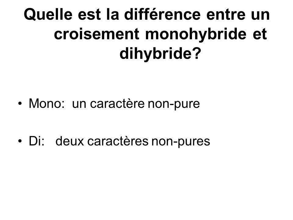 Quelle est la différence entre un croisement monohybride et dihybride? Mono: un caractère non-pure Di: deux caractères non-pures