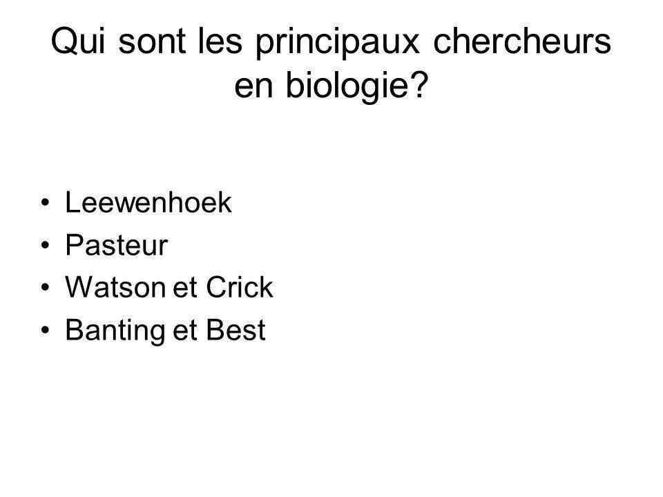 Qui sont les principaux chercheurs en biologie? Leewenhoek Pasteur Watson et Crick Banting et Best
