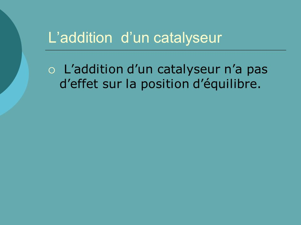 Laddition dun catalyseur Laddition dun catalyseur na pas deffet sur la position déquilibre.