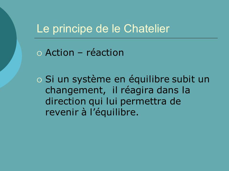 Le principe de le Chatelier Action – réaction Si un système en équilibre subit un changement, il réagira dans la direction qui lui permettra de reveni